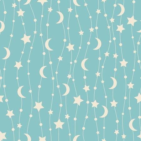Holiday background, seamless pattern with stars and the moon. Vector illustration.