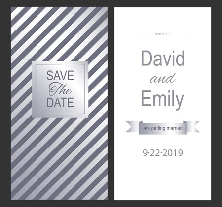 Save the Date. Vintage wedding invitation card for your design. Vector illustration. Stok Fotoğraf - 123127761