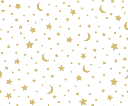 Holiday background, seamless pattern with gold stars and the moon.