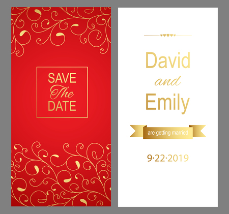 Save the Date. Red wedding invitation card for your design. Vector illustration. Stok Fotoğraf - 123522056
