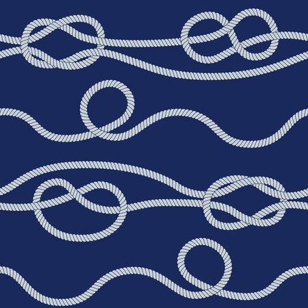 Seamless rope pattern on blue backdrop. Ilustrace