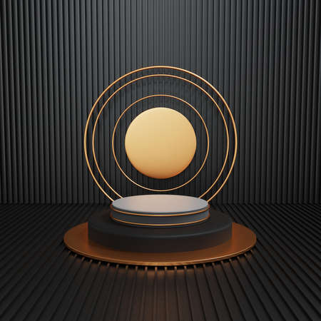 Black and gold podium on black background,geometry podium shape for display product, 3d rendering.