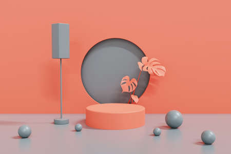 3d render pink and gray podium background,abstract geometric cylinder podium, modern minimalistic mock up empty showcase shop display.3d rendering.