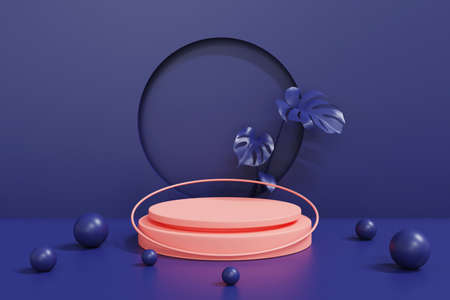 3d render pink podium on blue background,abstract geometric cylinder podium, modern minimalistic mock up empty showcase shop display.3d rendering.