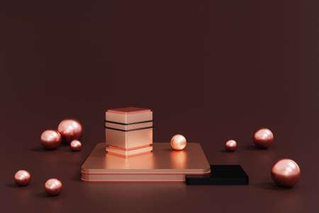 3d render rose gold and black podium on dark background,abstract geometric cylinder podium, luxury mock up empty showcase shop display.3d rendering. 版權商用圖片