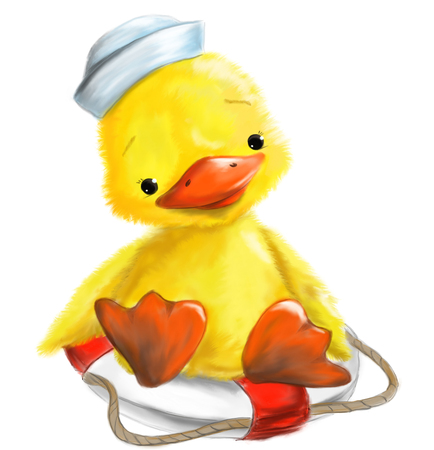 Illustrated cute duck with marine cap sitting on Easter rescue wheel