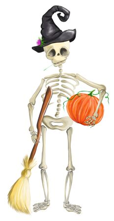 Illustrated human skeleton with pumpkin, witch hat and broom halloween Stock Photo