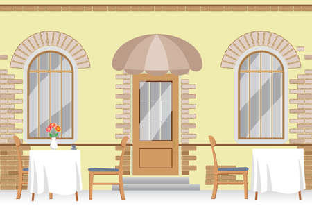 bricklaying: cozy outdoor cafe, vector illustration