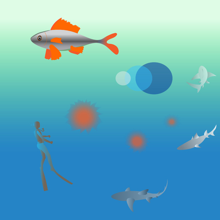 sea water: water world, a very large expanse of sea, vector illustration