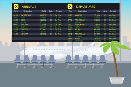 departure board: information board of arrival and departure in the airport hall, vector illustration