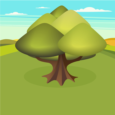 farmland: it has such beautiful farmland, mountains, valleys , and rivers. vector illustration