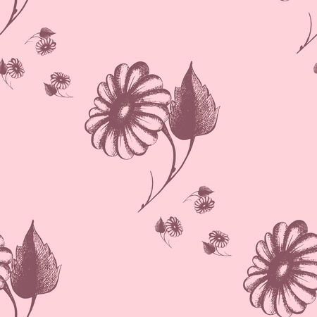 daisy flower, a repeated decorative design,  pattern, daisies, vector illustration Çizim