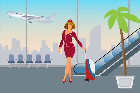Airport passenger terminal and waiting room international arrival and departures,  background, vector illustration