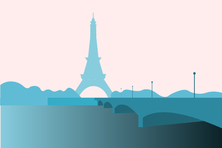 pensiveness: Eiffel Tower, a wrought-iron structure erected in Paris for the World Exhibition of 1889, vector illustration