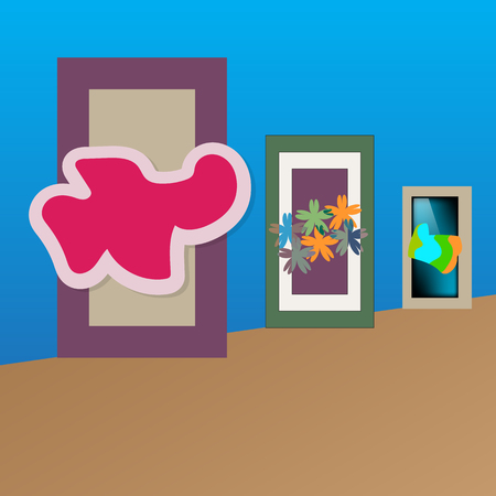 inattention: art gallery with paintings of the abstract, vector illustration