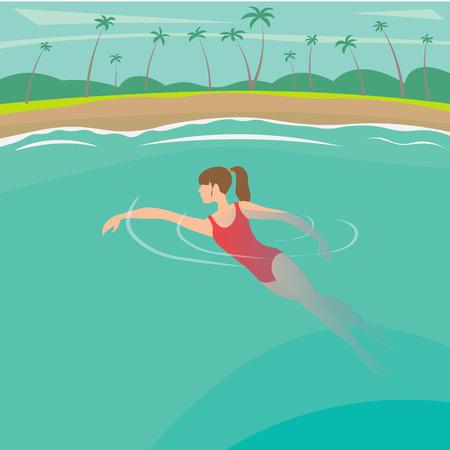 family vacation on the sunny coast of exotic countries, vector illustration Illustration