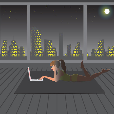 carried: girl playing in the evening after a workout on the Internet, vector illustration Illustration