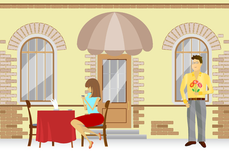 dinner date: girl waiting for a loved one at an street cafes, backgrounds, vector Illustration