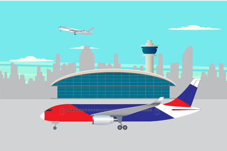 airplane preparing to flight near the terminal building,  background, vector illustration