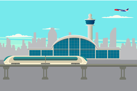 Arrival at the airport by rail, vector illustration