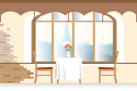 pensiveness: Small street cafe, with table and chairs, cups, plates and coffee, vector Illustration Illustration