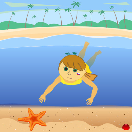 child under water found starfish, vector illustration