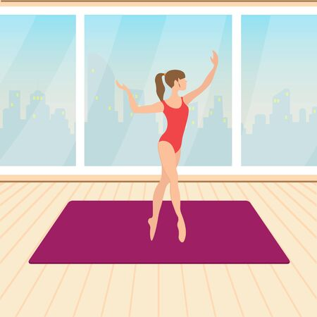repertoire: fitness, beautiful girl trains in the hall, vector illustration Illustration