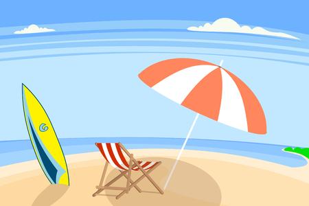 een kiezelstenen of zandige kust, in het bijzonder door de oceaan, vector illustratie Stock Illustratie
