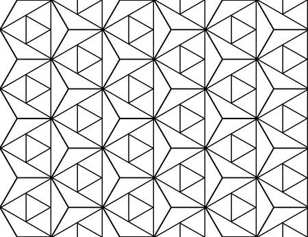 geometria: Vector de estrellas en blanco y negro sin fisuras patr�n de la geometr�a sagrada, impresi�n textil moderna con la ilusi�n, la textura abstracta, fondo de repetici�n sim�trica Vectores