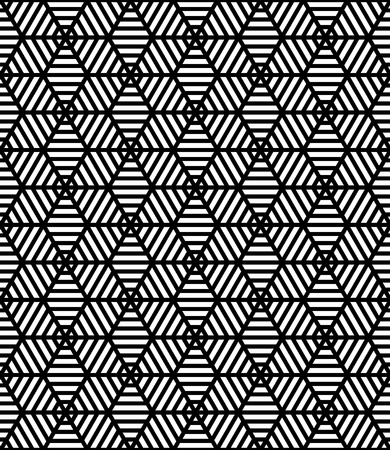 sacred geometry: Vector black and white seamless sacred geometry pattern stars,Modern textile print with illusion, abstract texture, Symmetrical repeating background