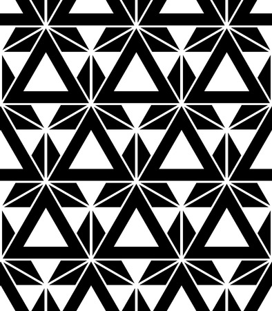 Vector black and white seamless pattern sacred geometry, Modern textile print with illusion, abstract textures, repeating background Symmetrical Ilustração