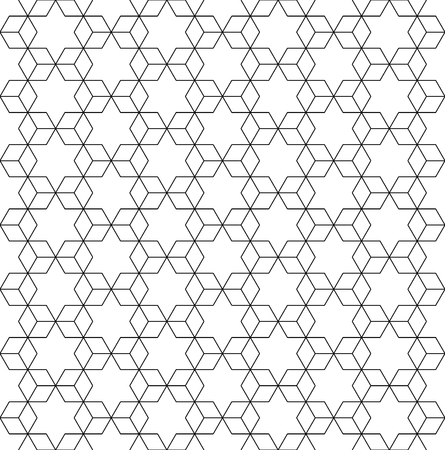 Vector black and white seamless pattern sacred geometry, Modern textile print with illusion, abstract textures, repeating background Symmetrical Ilustrace