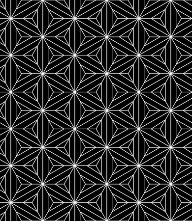 Vector black and white seamless pattern sacred geometry, Modern textile print with illusion, abstract textures, repeating background Symmetrical Vectores