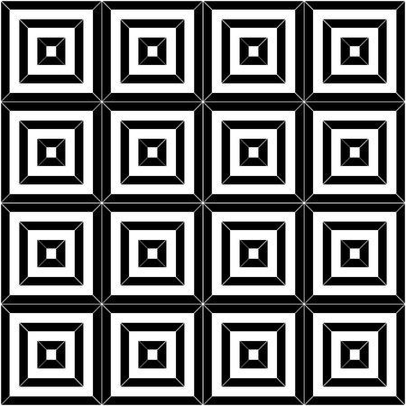 tiles texture: Vector modern pattern seamless tiles, black and white print textile with illusion, abstract texture, monochrome fashion design Illustration
