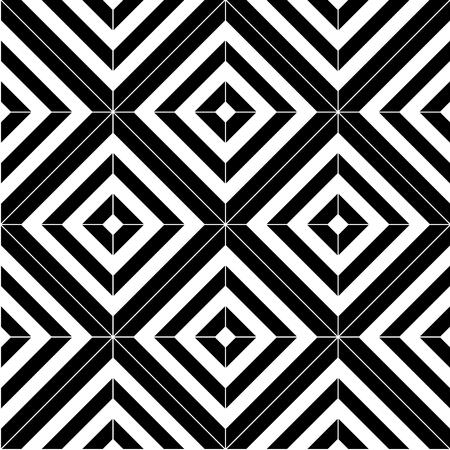 diamante negro: Vector modern pattern seamless tiles, black and white print textile with illusion, abstract texture, monochrome fashion design Vectores