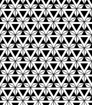 sacred geometry: Vector modern sacred geometry seamless pattern, black and white print textile with illusion, abstract texture, monochrome fashion design