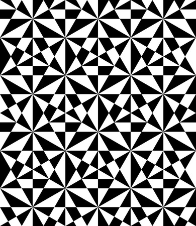 Vector modern seamless pattern, black and white print textile with illusion, abstract texture, monochrome fashion design