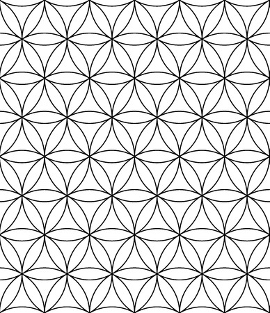 Vector modern seamless pattern flower of life, black and white textile print, stylish background, abstract texture, monochrome fashion design sacred geometry, bed sheets or pillow pattern Stock Illustratie