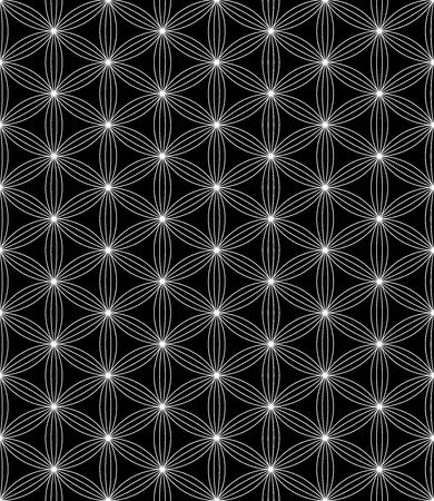 bed sheets: Vector modern seamless pattern flower of life, black and white textile print, stylish background, abstract texture, monochrome fashion design sacred geometry, bed sheets or pillow pattern Illustration