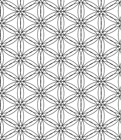 Vector modern seamless pattern flower of life, black and white textile print, stylish background, abstract texture, monochrome fashion design sacred geometry, bed sheets or pillow pattern Illustration