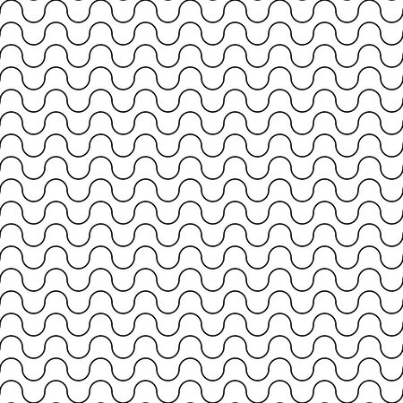 waved: Vector modern seamless geometry pattern waved line, black and white abstract geometric background, wallpaper print, monochrome retro texture, hipster fashion design Illustration