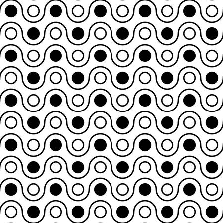 circle pattern: Vector modern seamless geometry pattern polka, black and white abstract geometric background, wallpaper print, monochrome retro texture, hipster fashion design