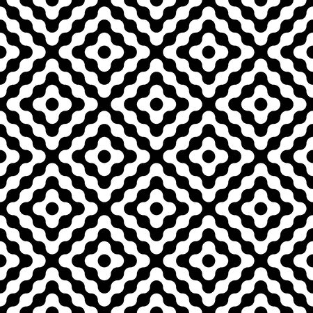 diamonds on black: Vector modern seamless geometry pattern diamonds, black and white abstract geometric background, wallpaper print, monochrome retro texture, hipster fashion design Illustration