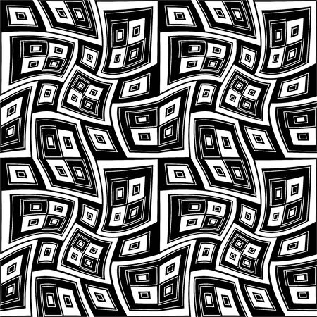 texture twisted: Vector modern seamless geometry pattern twisted, black and white abstract geometric background, wallpaper print, monochrome retro texture, hipster fashion design Illustration