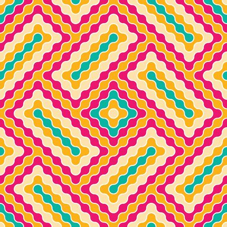 canlı renkli: Vector modern seamless colorful geometry pattern wavy, vivid color abstract geometric background, wallpaper print, retro texture, hipster fashion design