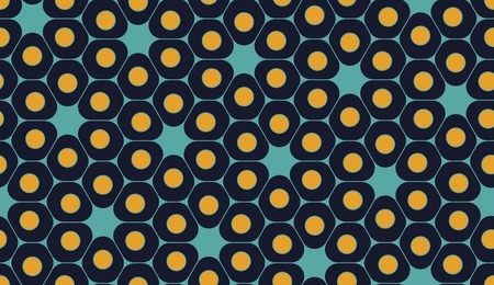 blue cells: Vector modern seamless colorful geometry pattern, cells, color blue yellow abstract geometric background, trendy multicolored print, retro texture, hipster fashion design Illustration