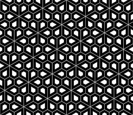 pentagon: Vector modern seamless sacred geometry pattern pentagon, black and white abstract geometric background, trendy print, monochrome retro texture, hipster fashion design Illustration