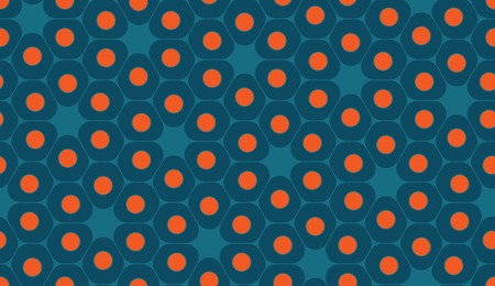 blue cells: Vector modern seamless colorful geometry pattern, cells, color blue orange abstract geometric background, trendy multicolored print, retro texture, hipster fashion design Illustration