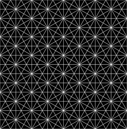 モダンなシームレスな神聖な幾何学パターンのグリッド、黒と白の抽象的な幾何学的な背景、トレンディな印刷、白黒レトロな質感、流行に敏感な