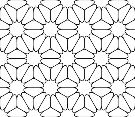 modern seamless sacred geometry pattern floral, black and white abstract geometric background